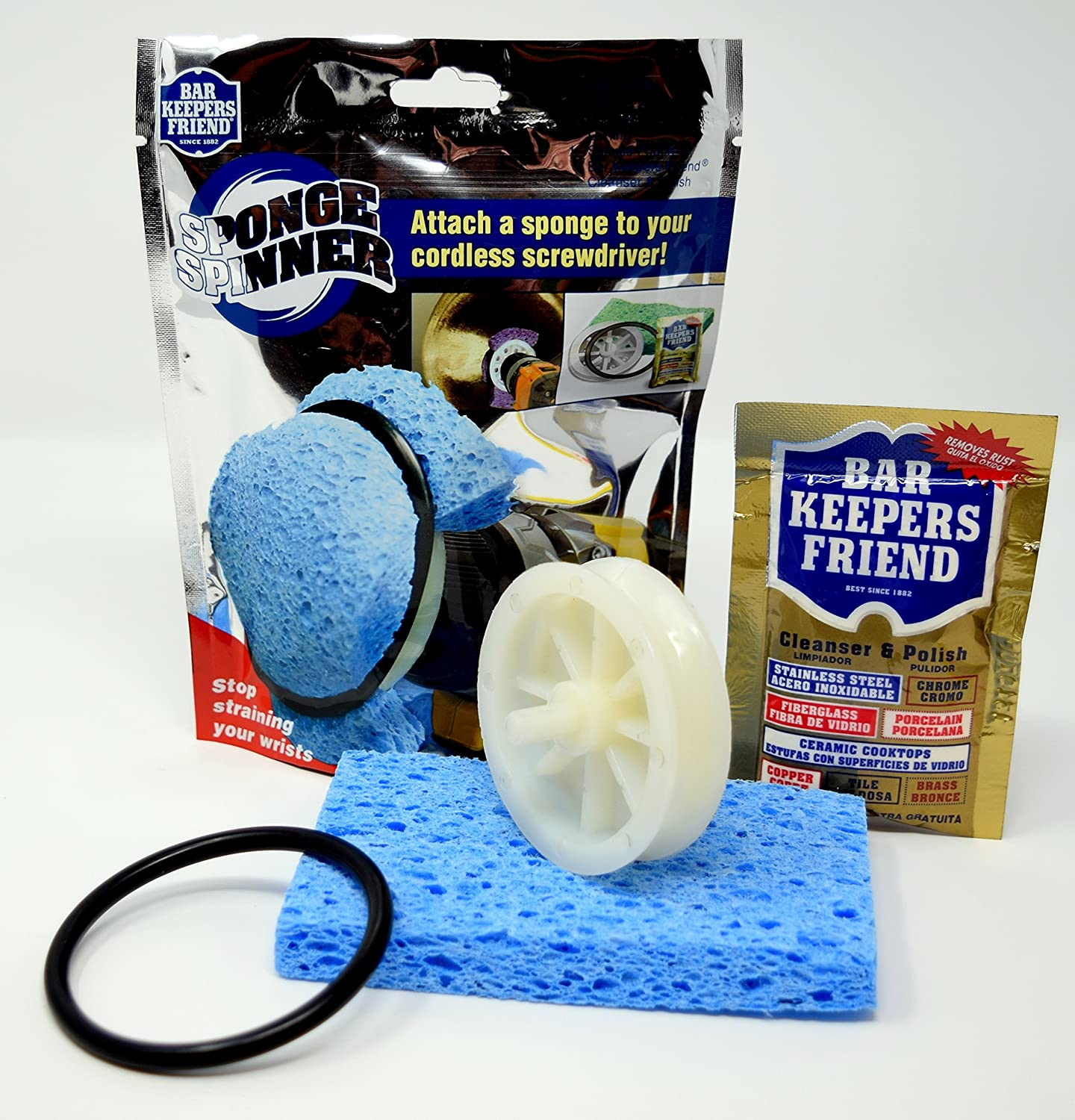Amazon.com: Bar Keepers Friend Sponge Spinner Drill Cleaning Kit | Tubs, Sinks, Cookware & More| Includes Sponge Spinner Drill Attachment Kit|13 Oz Bar ...