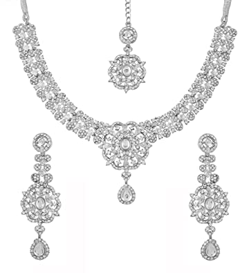 Touchstone Indian Bollywood white/pink crystals wedding evening bridal jewelry necklace in silver tone for women N25q78