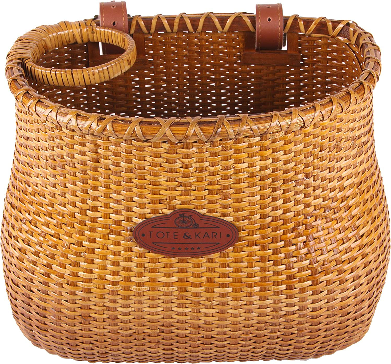 Classic Vintage Style Handmade Natural Woven Rattan Wicker Also fits Scooter Quick Detachable Tote /& Kari Bicycle Basket Made for Front Handlebar of Adult Beach Cruiser Bike it has a Cup Holder