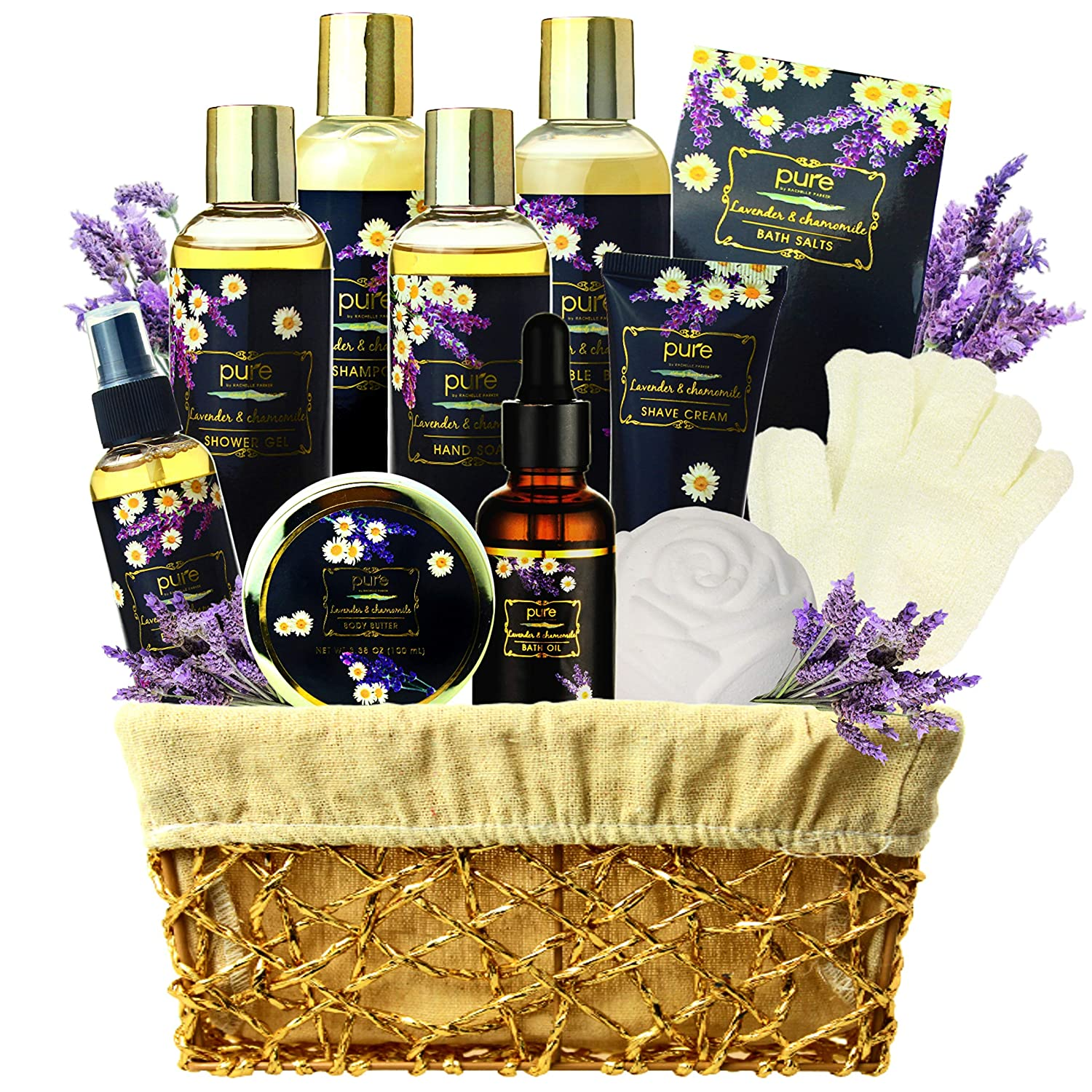 Lavender Chamomile Natural Spa Gift Basket, Lavender Aromatherapy Luxurious Bath and Body Gift Set 8 Piece Home Spa Kit. Best Relaxing Gift Basket for Mom as Mothers Day Gift Set! : Beauty