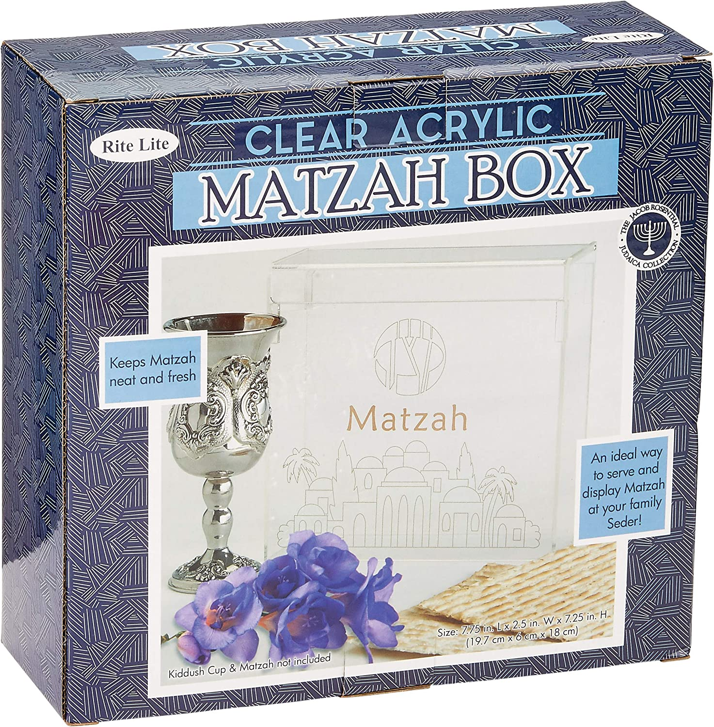 Rite Lite Passover Acrylic Flip Top Matzah Box Decor For Pesach/ Pesach Seder (1 Pack)