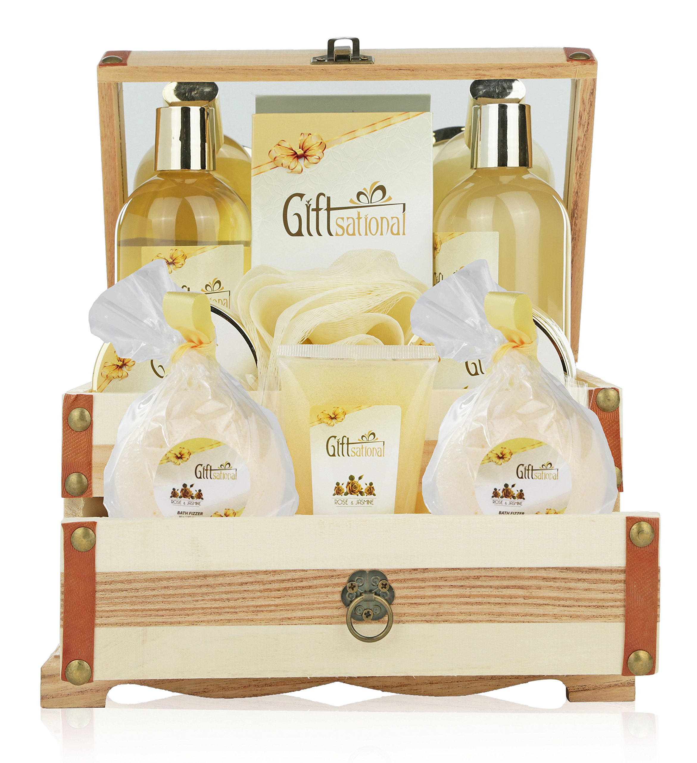 Spa Gift Basket Refreshing Rose & Jasmine Fragrance, Beautiful Wooden Gift Box with Mirror, Perfect Wedding, Birthday or Anniversary Gift, Bath gift Set Includes Shower Gel, Bath Bombs and More! by Giftsational (Image #4)