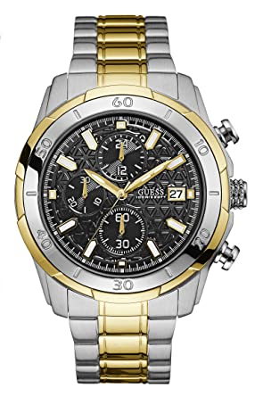 Guess Watches Mens Guess Mens Silver-Gold Watch