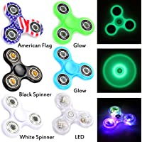 Fidget Spinner 6 Pack | Multi-Colored LED, 2 Glow-In-The-Dark, American Flag, Black White Premium Stress Reducer Tri-Spinner for July 4th Party Favor, School Classroom Reward
