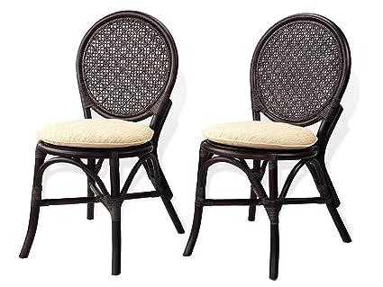 Beau Set Of 2 Denver Dining Armless Side Chairs Natural Rattan Wicker ECO  Handmade Design, Dark