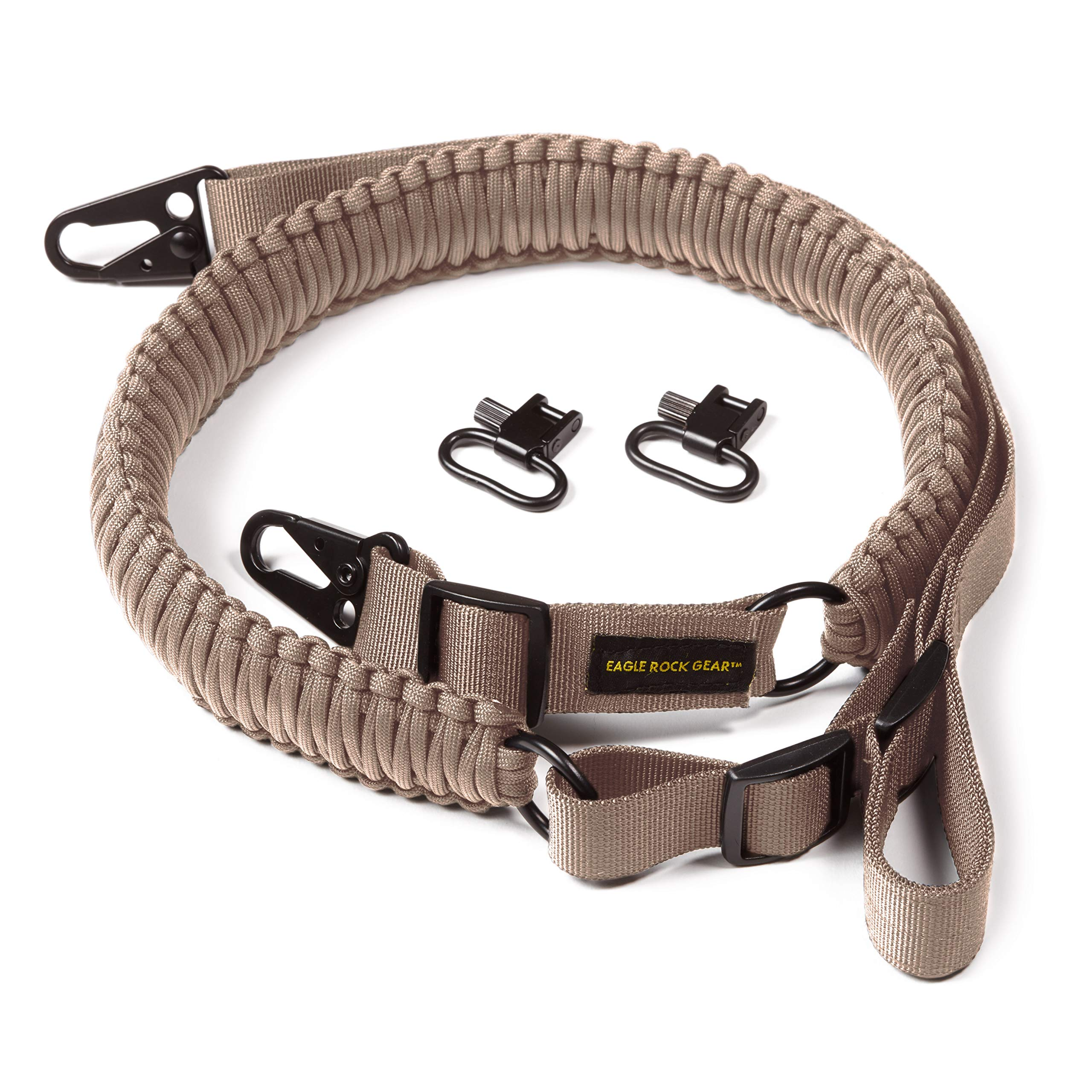 Eagle Rock Gear 550 Paracord 2 Point Gun Sling for Rifles, Shotguns, Crossbows, Airsoft, with Easy Adjustable Strap, HK Clips, Swivels, US Patent Pending (Desert Tan) by Eagle Rock Gear