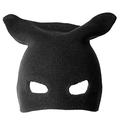 Accessoryo , Adulte Tricoté Batman La Moitié Du Visage Bonnet Avec Trou Yeux  Découpes Et Une