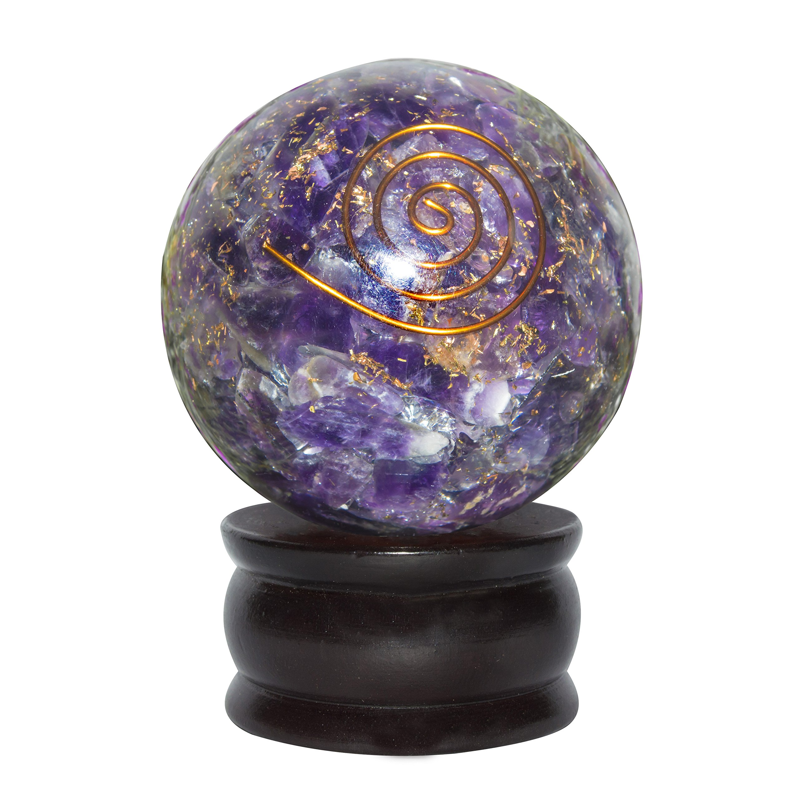 Crocon Amethyst Reiki Healing Orgone Crystal Sphere Ball Gemstone Energy Generator For Aura Cleansing Chakra Balancing & EMF Protection 50-55mm