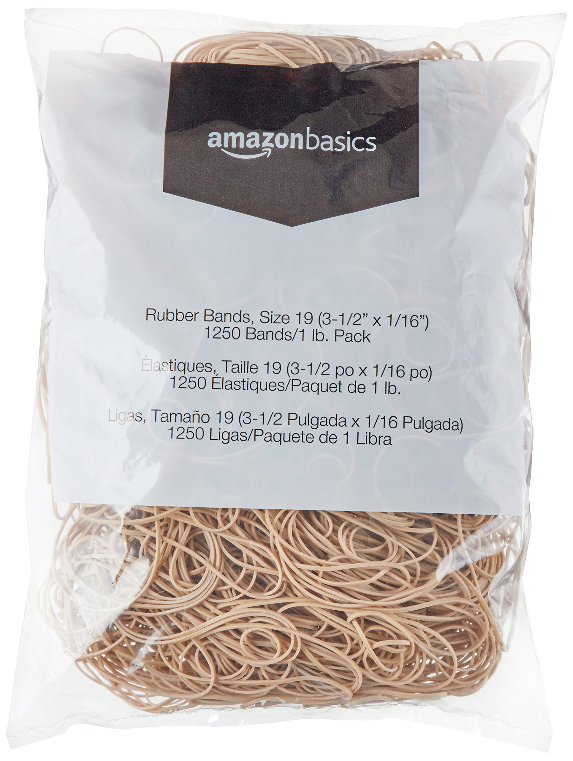 AmazonBasics Rubber Bands, Size 19 (3-1/2'' x 1/16''), 1250 Bands/1 lb. Pack, 3-Pack