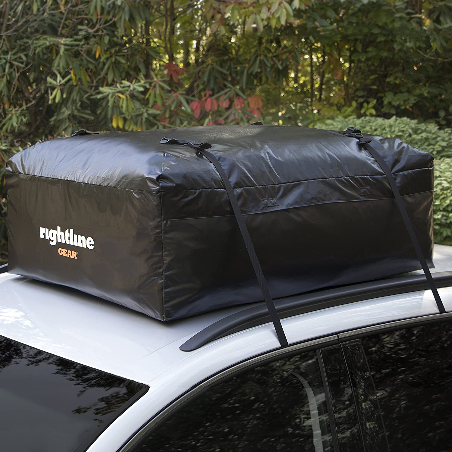Weatherproof Rightline Gear Ace Jr Top Carrier 9 cu ft Sized for Compact Cars Attaches With or Without Roof Rack 100A50