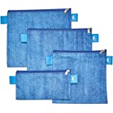 Nordic By Nature Premium Blue Denim Pattern Sandwich & Snack bags   Set of 4 Pack   Resealable, Reusable & Eco Friendly Lunch Bags   Easy Zipper   Can Be Used With Food, Snacks, Makeup, Toys & jewelry