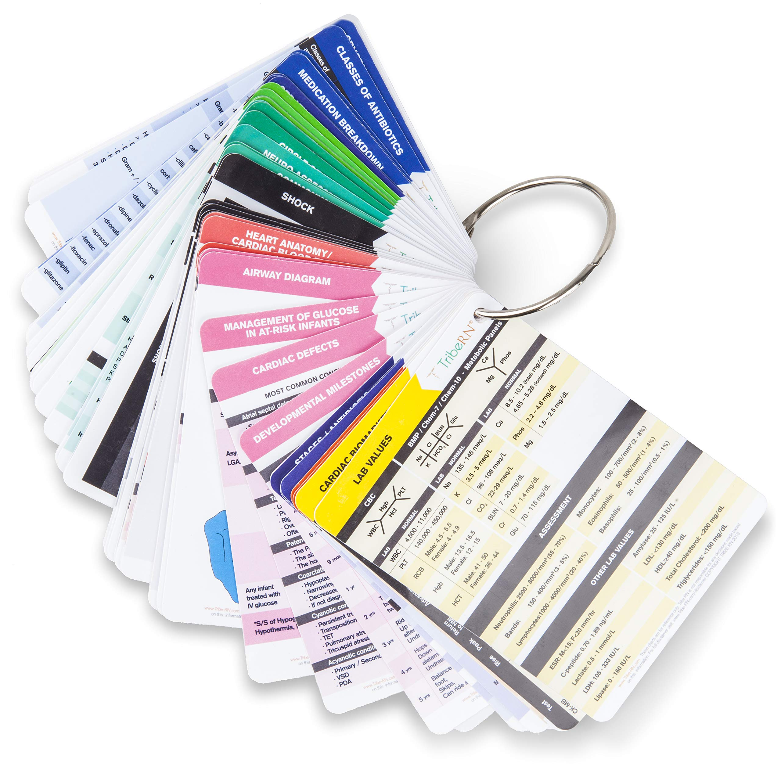 PocketGuru Set by Tribe RN - 85 Pocket Sized Nursing School Reference Cards and Online Clinical Resource Library Essential Gift for Nurses and Nursing Students