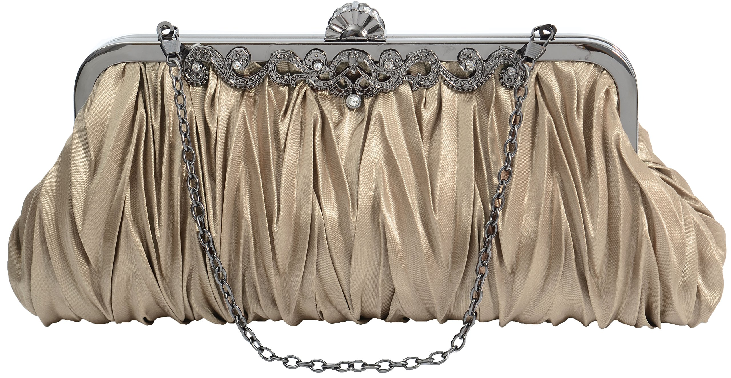 Pulama 1920s Crossbody Bag for Women, Vintage Evening Clutch Purse Wallet, Coffee