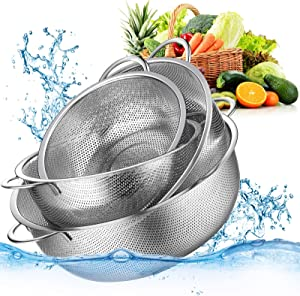 4 Pieces Colander Set Stainless Steel Mesh Strainer with Handles and Resting Base Net Baskets for Strain Drain Rinse Steam or Cook 10 Inch 4.5 Quart, 9 Inch 3 Quart, 8 Inch 2 Quart, 6.5 Inch 1 Quart