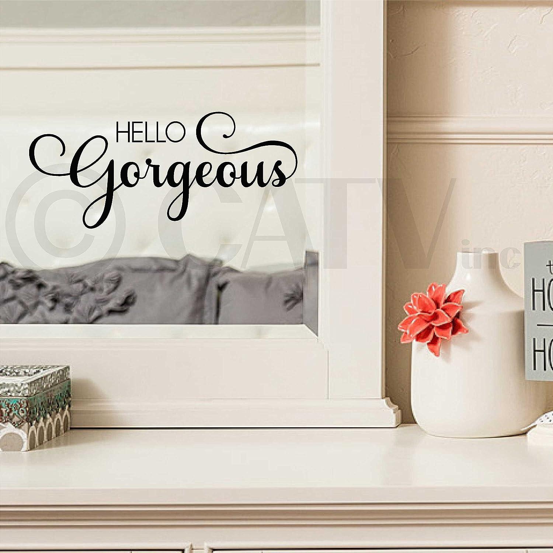 amazon com hello gorgeous vinyl lettering wall decal sticker amazon com hello gorgeous vinyl lettering wall decal sticker black home kitchen