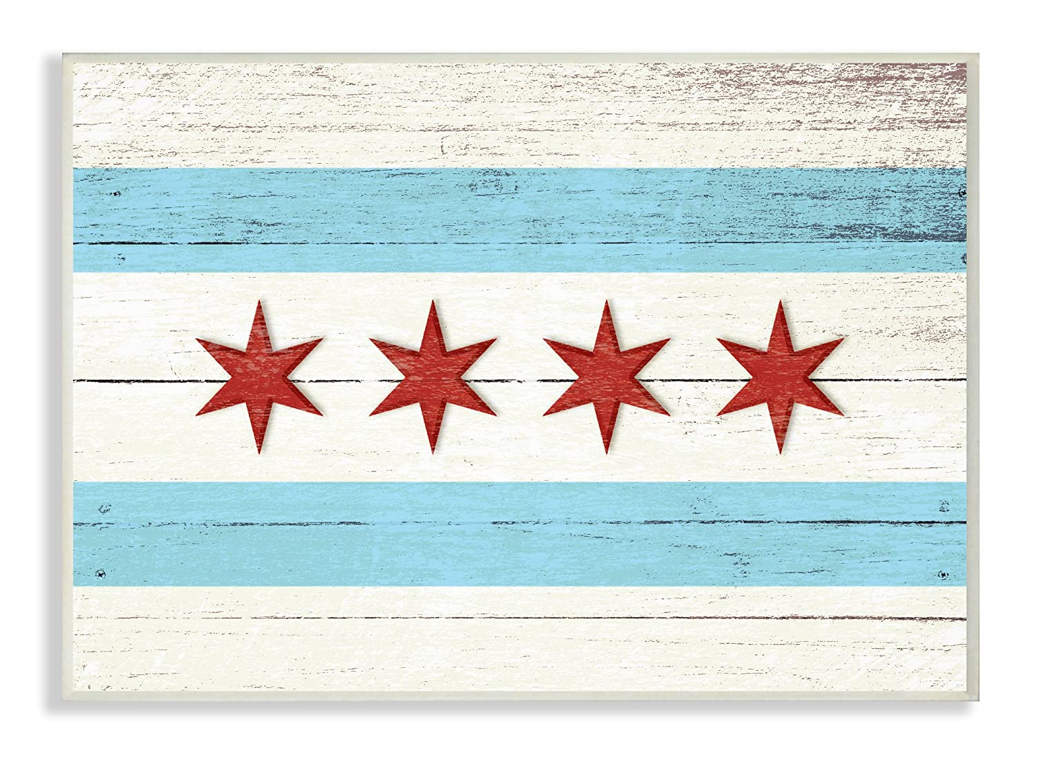 The Stupell Home Décor Collection Chicago Flag Distressed Wood Look Wall Plaque Art, 10 x 15