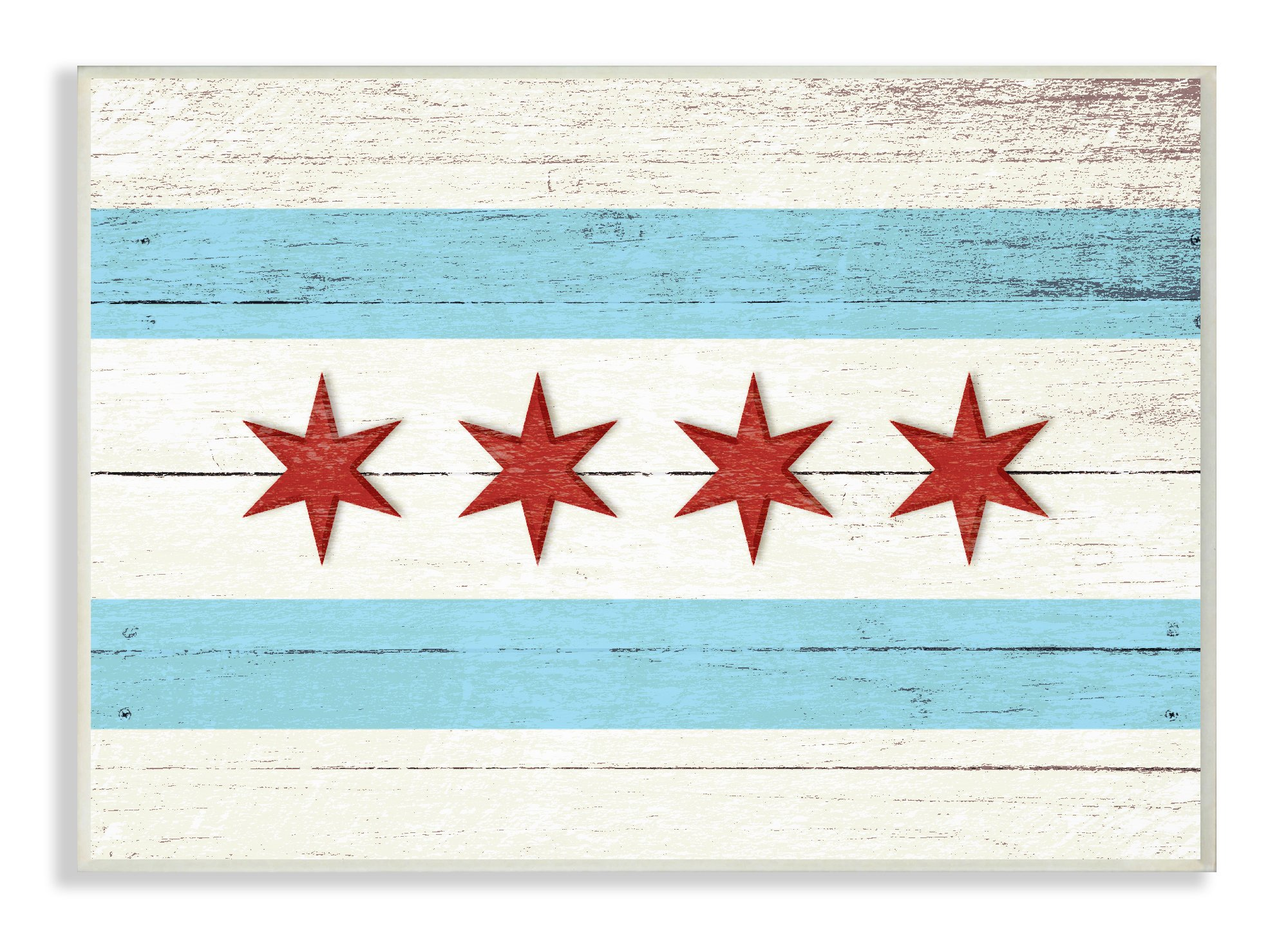 The Stupell Home Decor Collection Chicago Flag Distressed Wood Look Wall Plaque Art, 10 x 15 by The Stupell Home Decor Collection (Image #1)