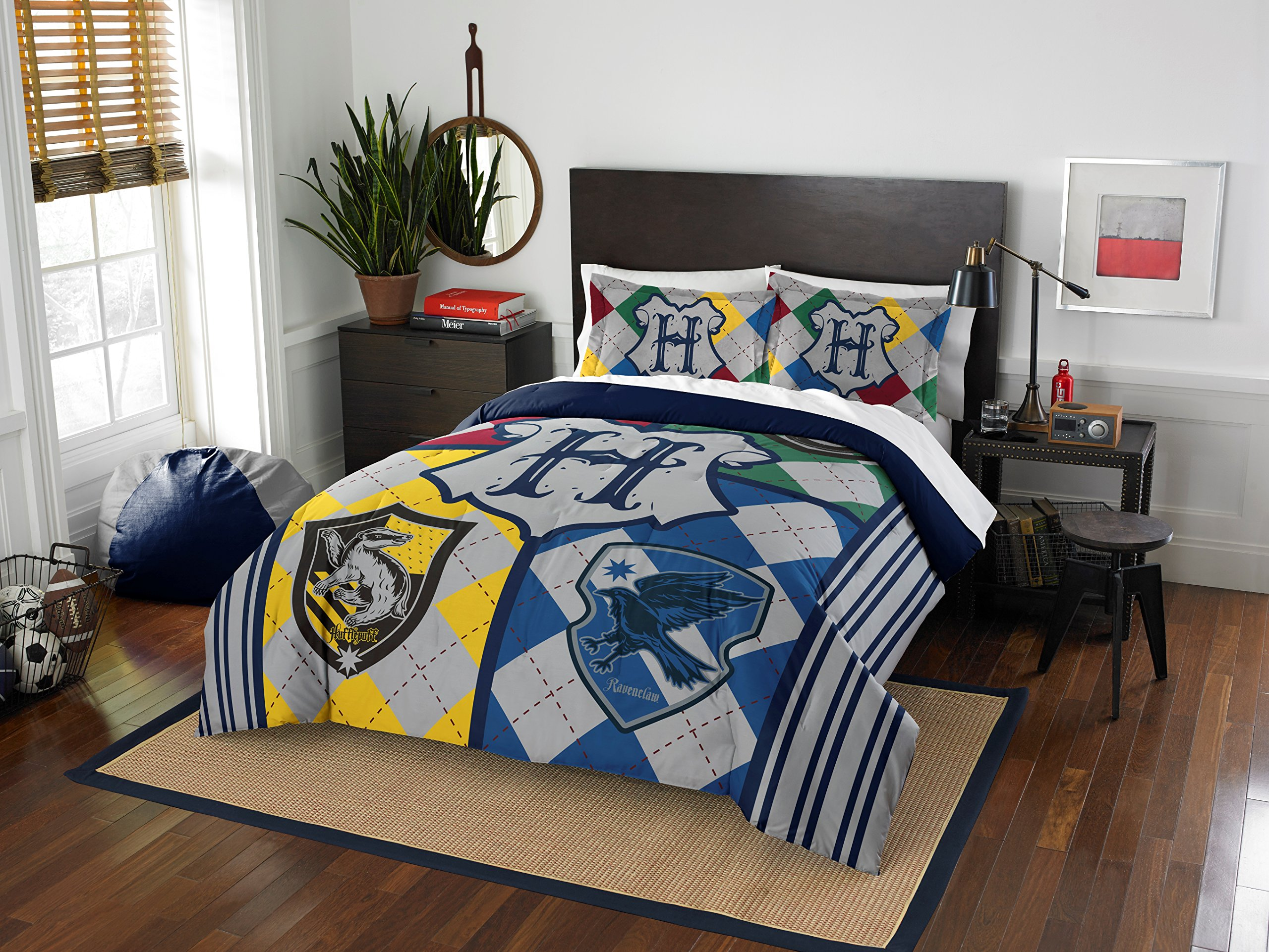 LO 3 Piece Kids Yellow Blue Red Grey Harry Potter Themed Comforter Full Queen Set, Hogwarts Pattern Bedding for HP Fans Merchandise Fan Gear Stripes Crow Movie Series Decor, Polyester