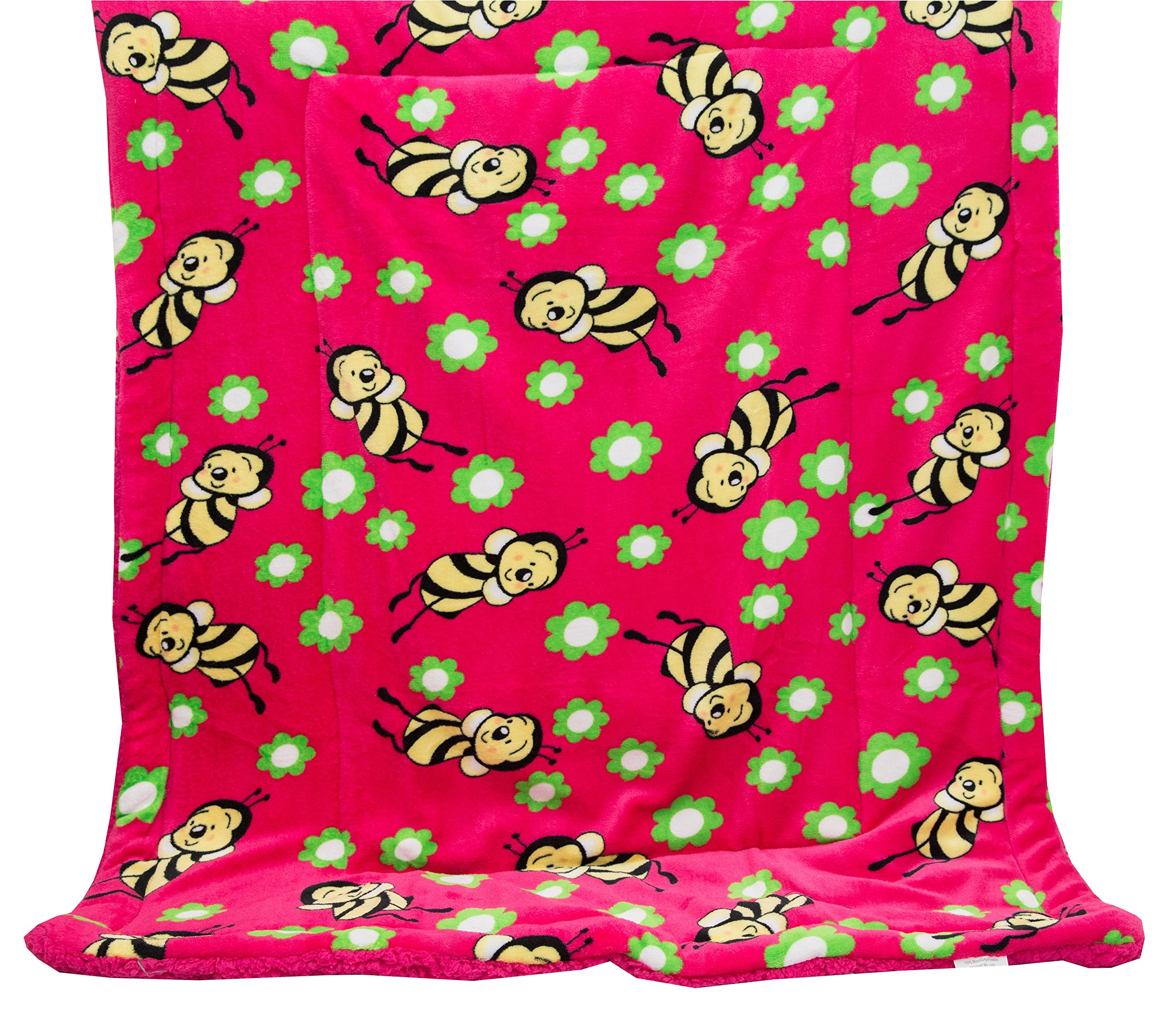 Elegant Home Hot Pink Green Yellow Black Kids Soft & Warm Sherpa Baby Toddler Girl Sherpa Blanket Pink Bee Printed Borrego Stroller or Toddler Bed Blanket Plush Throw 40X50# Pink Bee