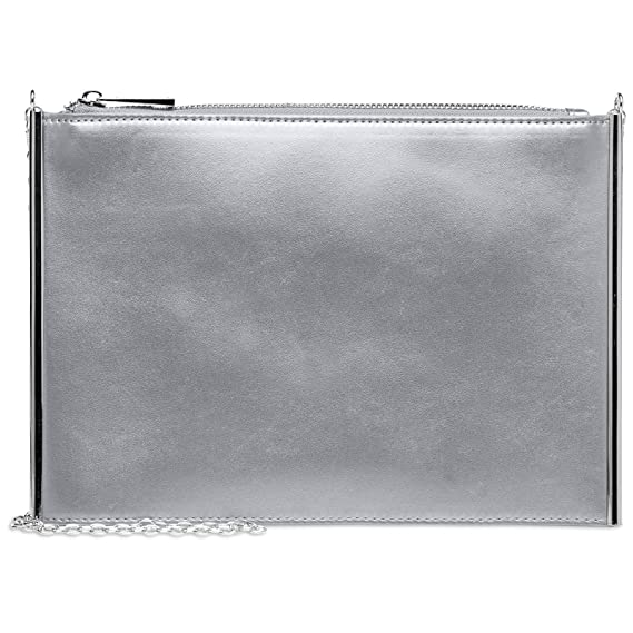 CASPAR TA403 Pochette de soirée métallique pour femme / Sac à main / Clutch, Couleur:argenté;Taille:One Size
