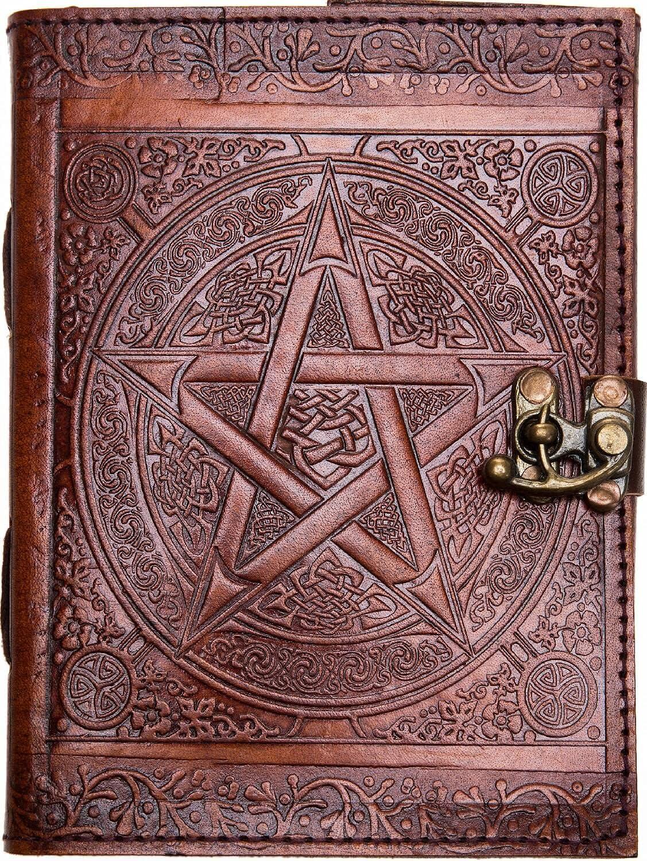 Chiko Leather Book – Brown Star Pentagram Embossed Handmade Journal, Artist Sketchbook Drawing Scrapbook Writing Notebook, Unlined