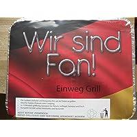 EM 2012 Edition - Wir sind Fan! Einweggrill Silber kleiner One-Way Camping Picknick ✔ eckig ✔ tragbar ✔ Grillen mit Holzkohle