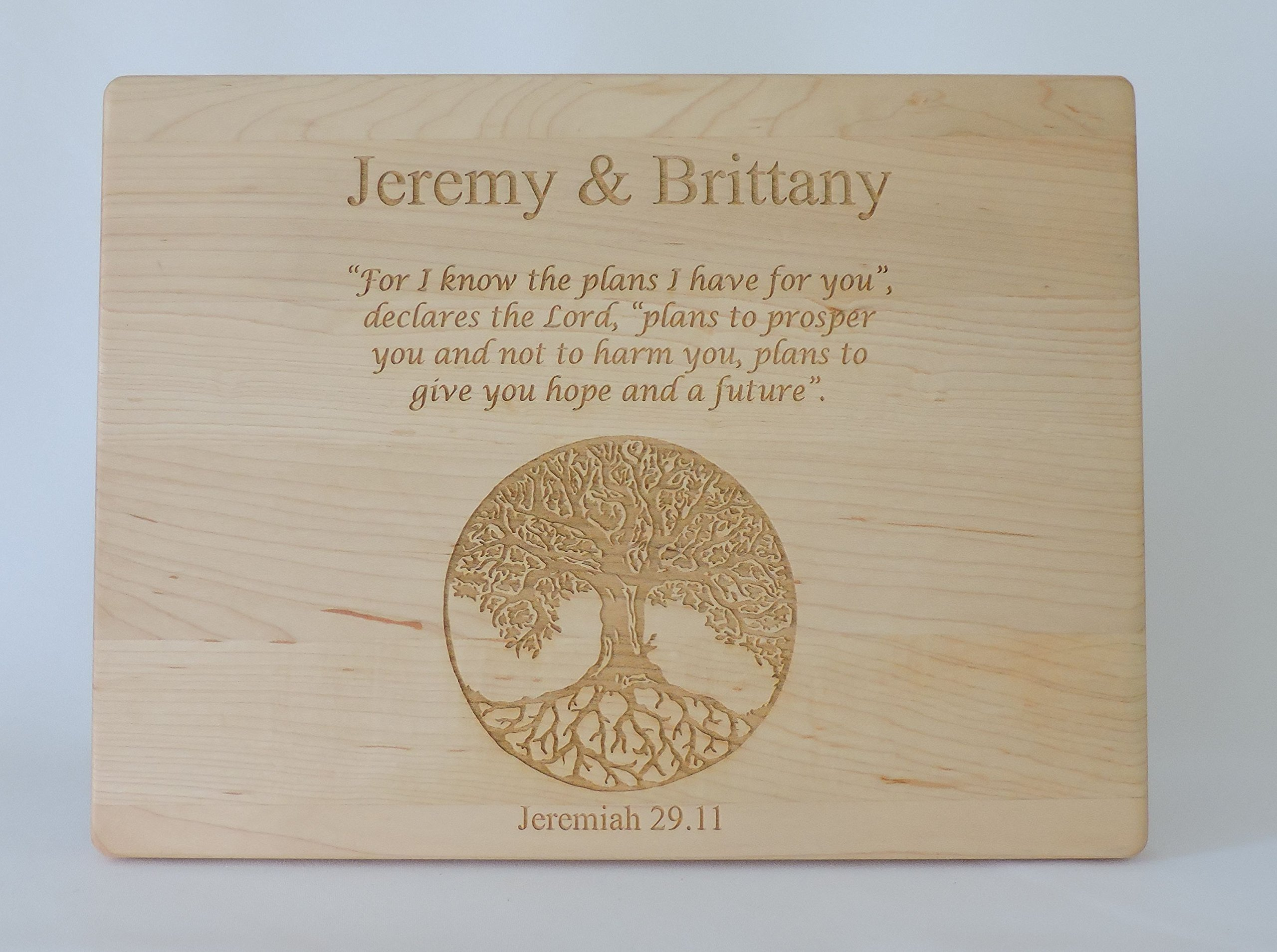 Jeremiah 29.11 Custom Cutting Board- Maple Wood- Personalized Christian Gift