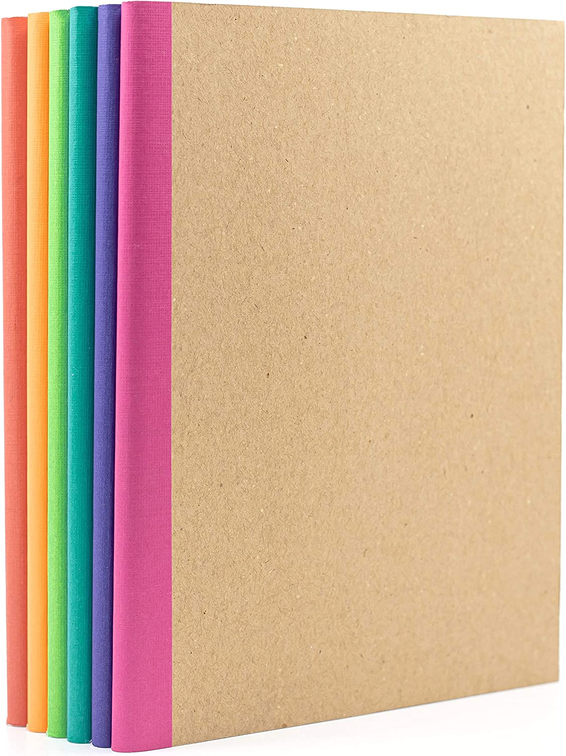 6-Pack Kraft Composition Notebooks Journals for Travelers, Students and Office, 120 gsm, 60 Pages Lined Paper, 5.75 in by 8 in