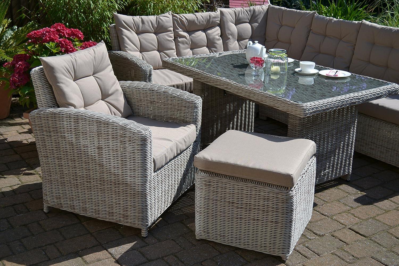 divano angolare + tavolo + poltrona + sgabello Set lounge ad angolo per 8 persone colore sabbia e grigio naturale in polyrattan Bomey Manhattan