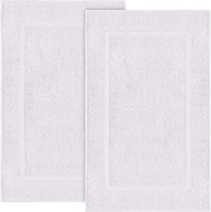 Utopia Towels Cotton Banded Bath Mats, 2 Pack (21 x 34 Inches), White