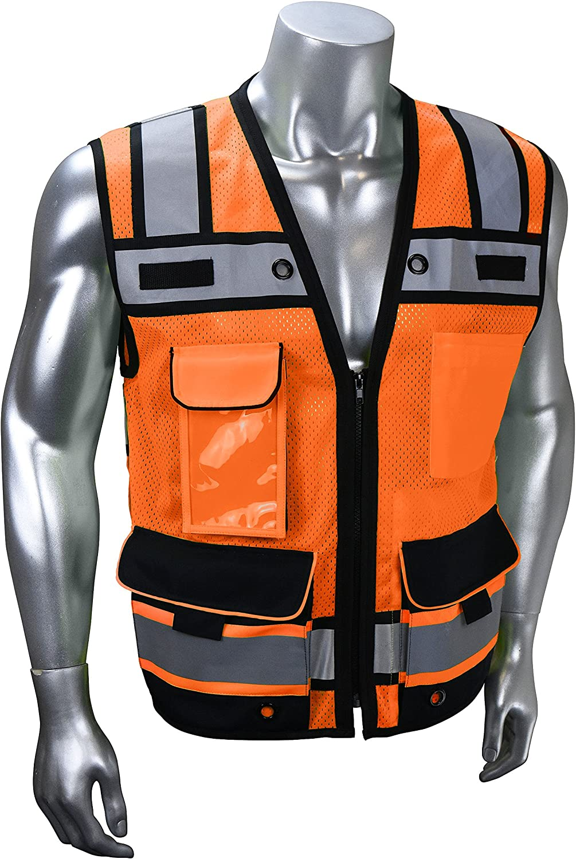 Radians SV65 Heavy Duty Surveyors Safety Vest with Zipper, Large Plan Pocket, Hi-Viz Green or Hi-Viz Orange: Clothing