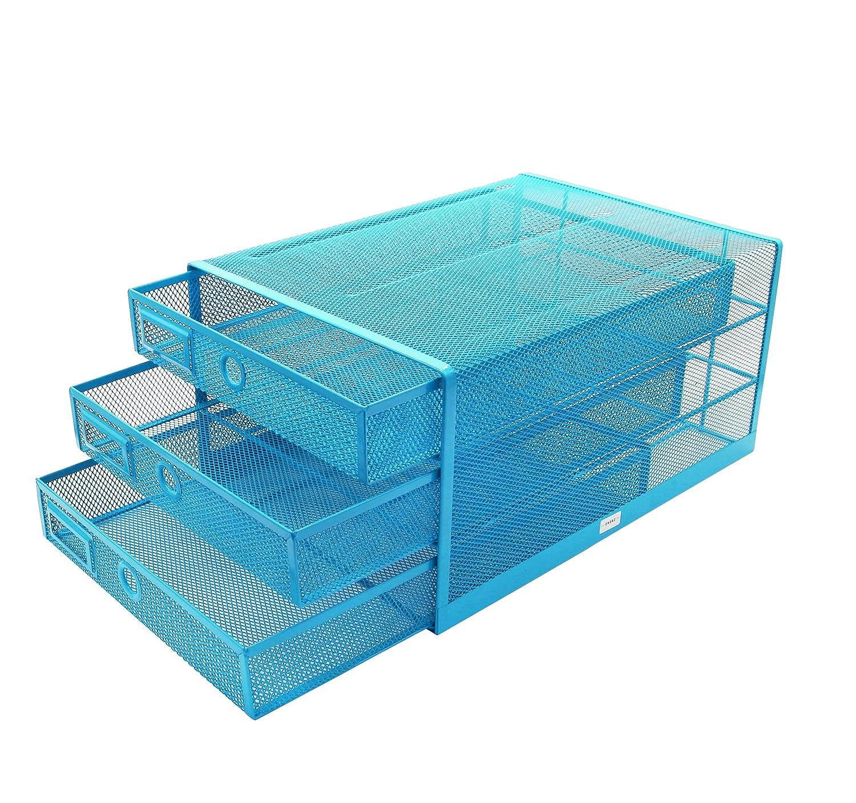 Exerz EX3205 Drahtgefochtener Papier Sortierer mit 3 Schubladen/Schreibtisch Multifunktions Organizer - Blau Exerz Limited