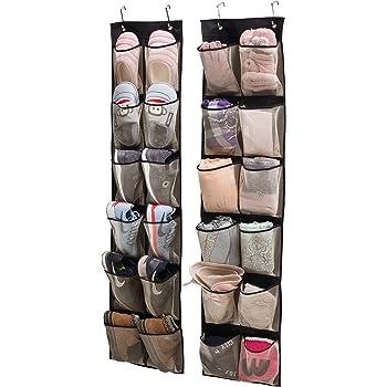 KIMBORA Over Door Organizer Hanging Shoe Storage For Narrow Closet Door,2  Pack 12 Large