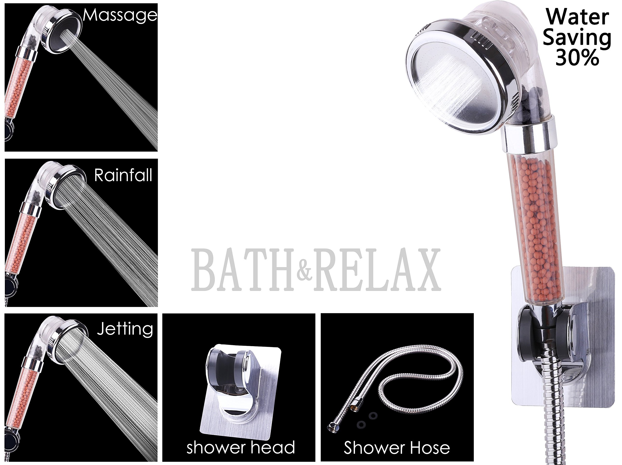 Filtered Hand Held Shower Head Kit, Water Saving Home Spa Shower Head with 3 Settings, Reduces Hair Loss, Purify Water&Remove Chlorine, Hose & Mount Included, Easy Install (Plus a Shower Hose&Mount) by Bath & Relax