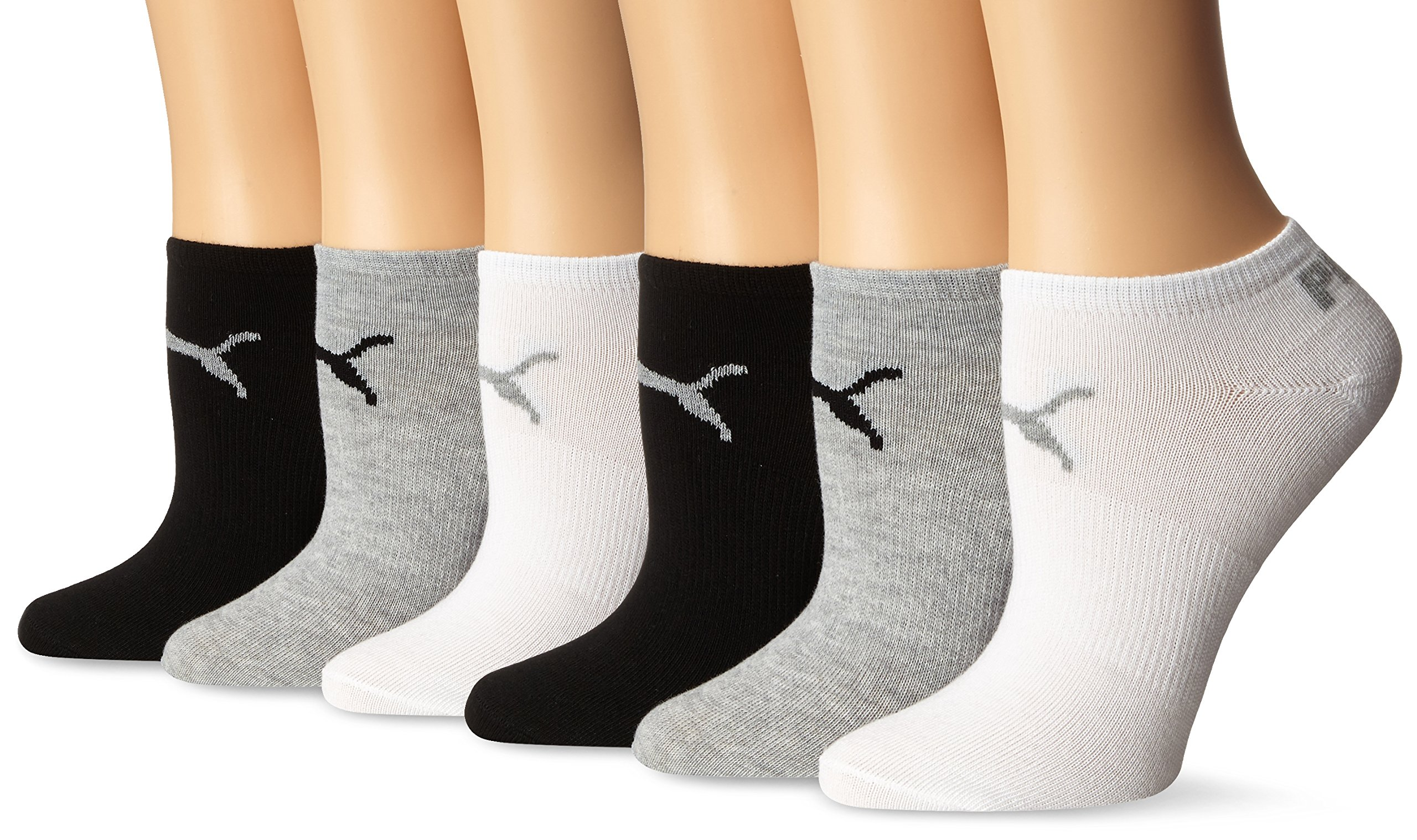 Puma Women's Non Terry No Show Low Cut Athletic Sport Sock 6-Pack,Grey/White/Black,9-11