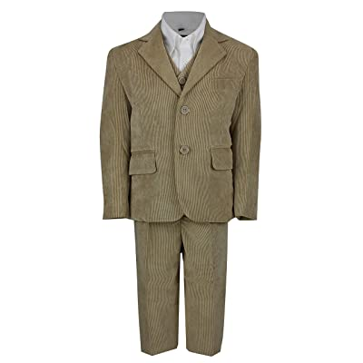 XPOSED Kids Vintage Corduroy 3 Piece Suit In Cream Black Beige, Page Boy, Wedding, Party Age 2-12 Year