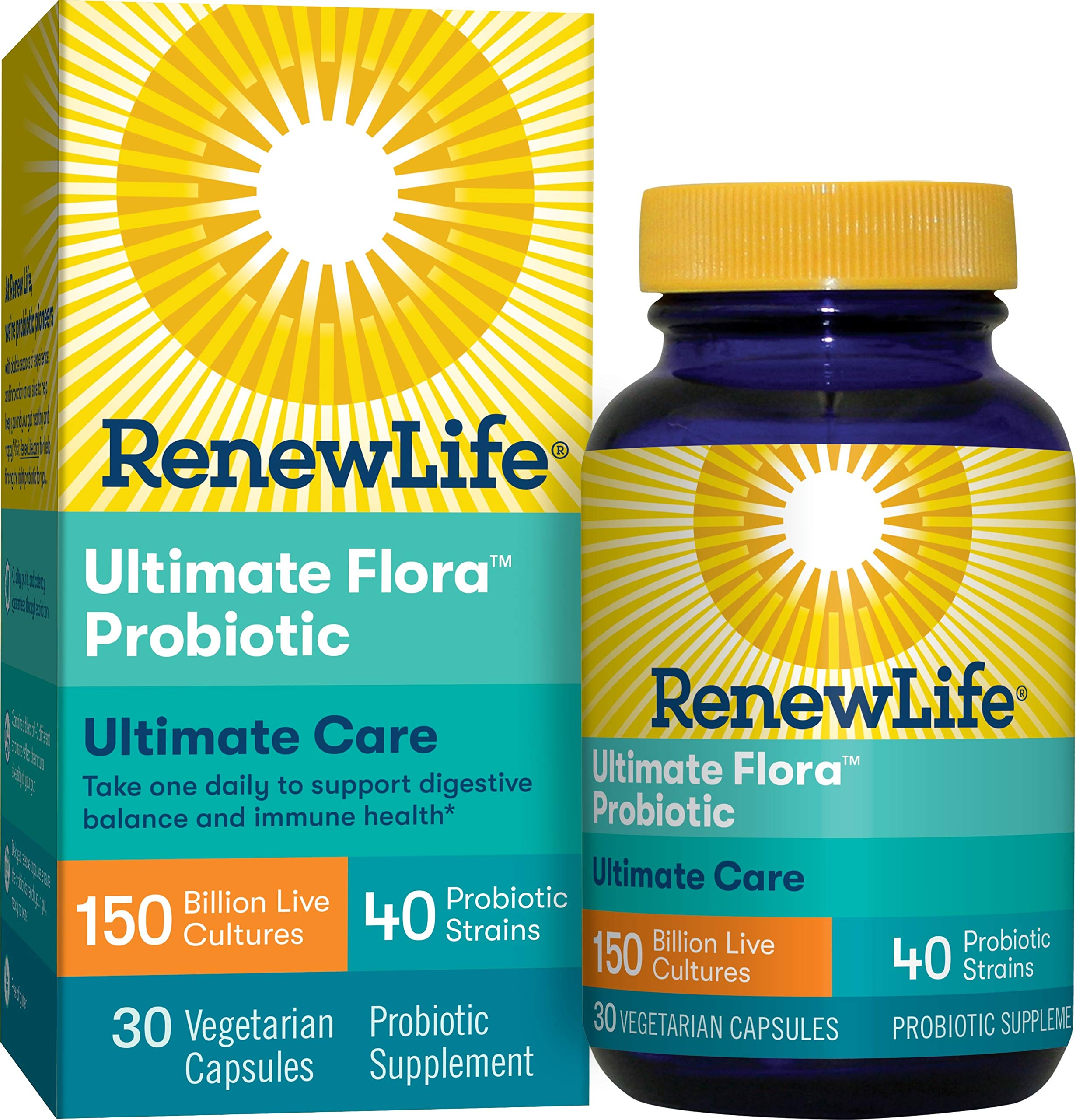 Renew Life Adult Probiotic - Ultimate Flora Ultimate Care Probiotic Supplement - Gluten, Dairy & Soy Free - 150 Billion CFU - 30 Vegetarian Capsules by Renew Life