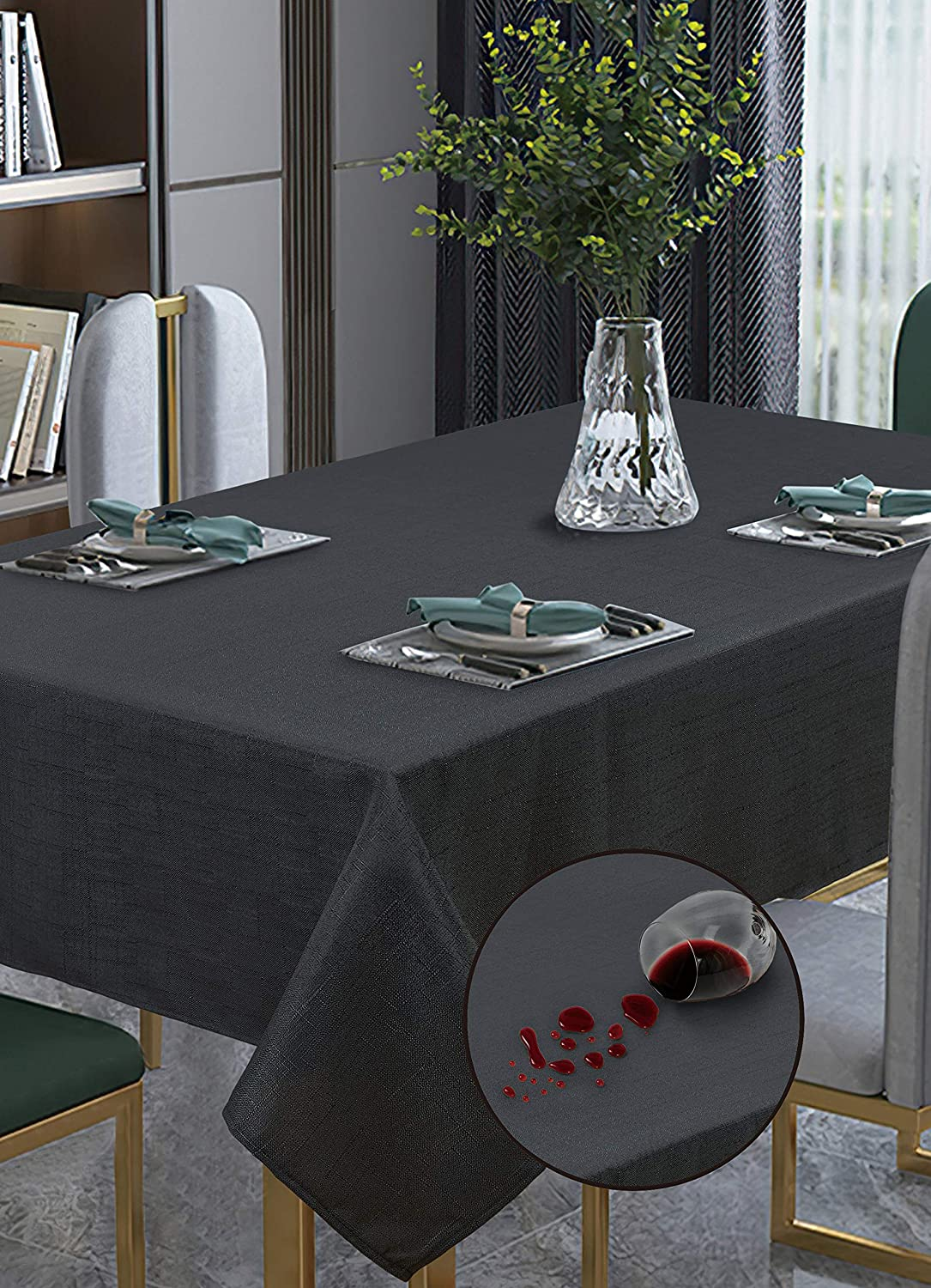 """Violet Linen European Solid Faux Linen Pattern Polyester, Non-Stain, Spill-Proof and Water Resistance, Rectangle, Tablecloth, Seats 6 to 8 Pepole, 60"""" X 95"""", Black"""