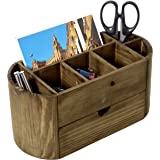 Rustic Burnt Wood 8-Compartment Desktop Office Supplies Organizer with Pull-Out Storage Drawer
