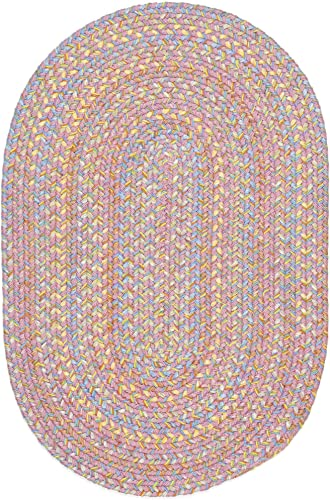 Super Area Rugs Hipster Braided Rug Kids Rugs Extra Durable Soft Pink Nursery Playroom Carpet, 2 X 3 Oval