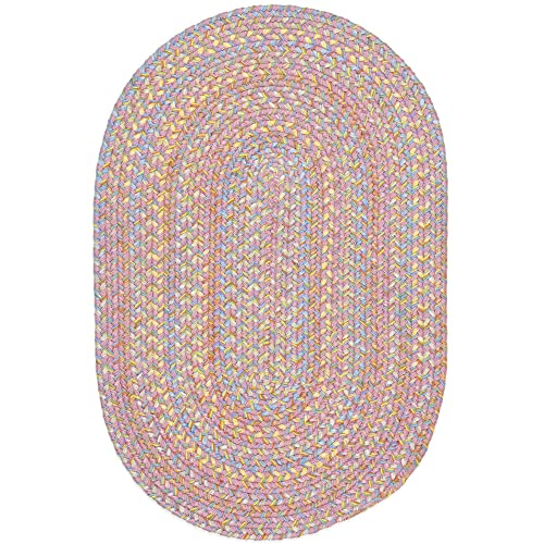 Super Area Rugs Hipster Braided Rug Kids Rugs Extra Durable Soft Pink Nursery Playroom Carpet, 5 X 8 Oval