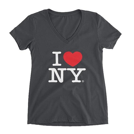 b3c6df2b7a25 I Love NY Charcoal V-Neck T-Shirt Spandex Ladies Heart New York Womens