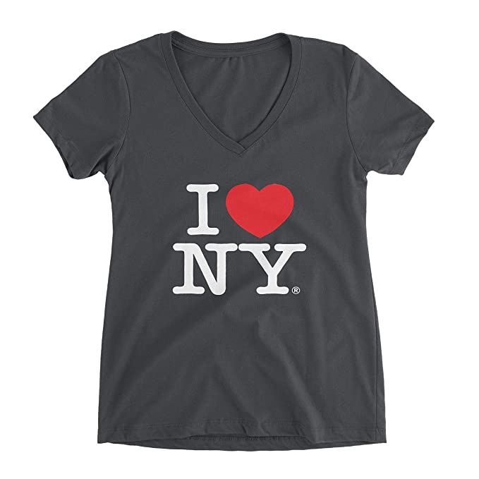 Amazon.com  I Love NY Charcoal V-Neck T-Shirt Spandex Ladies Heart ... acdc337bc12