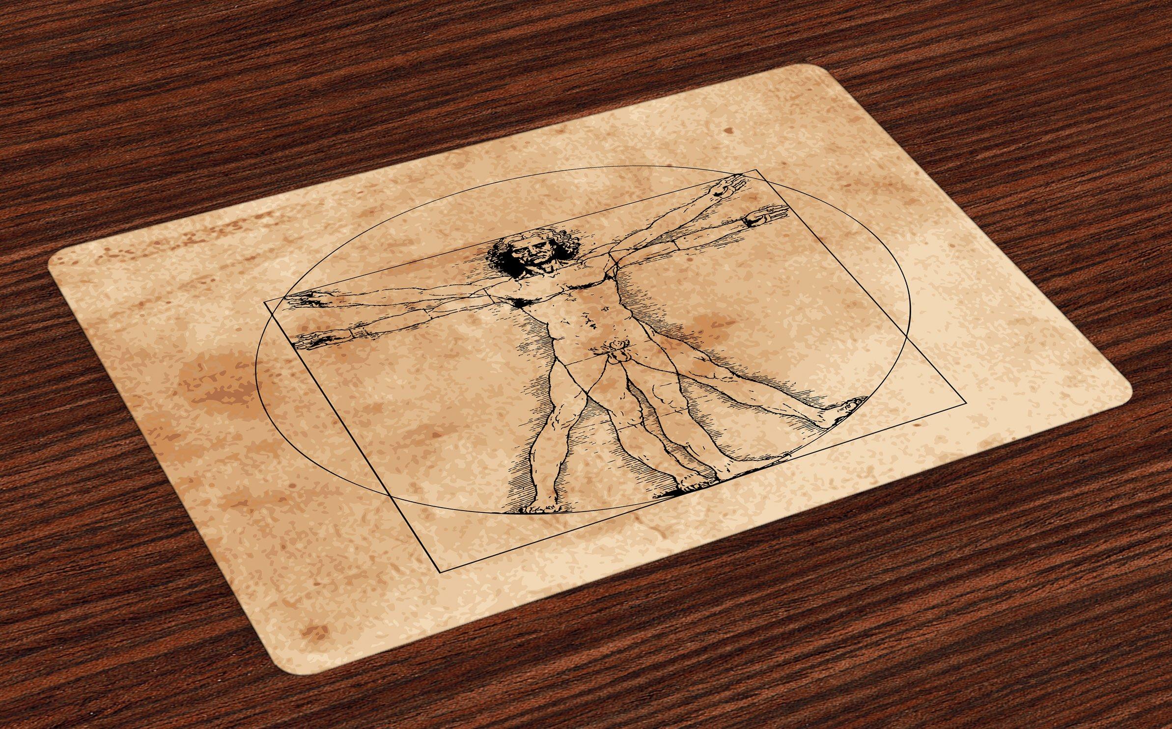 Ambesonne Human Anatomy Place Mats Set of 4, Medieval Vitruvian Man ...