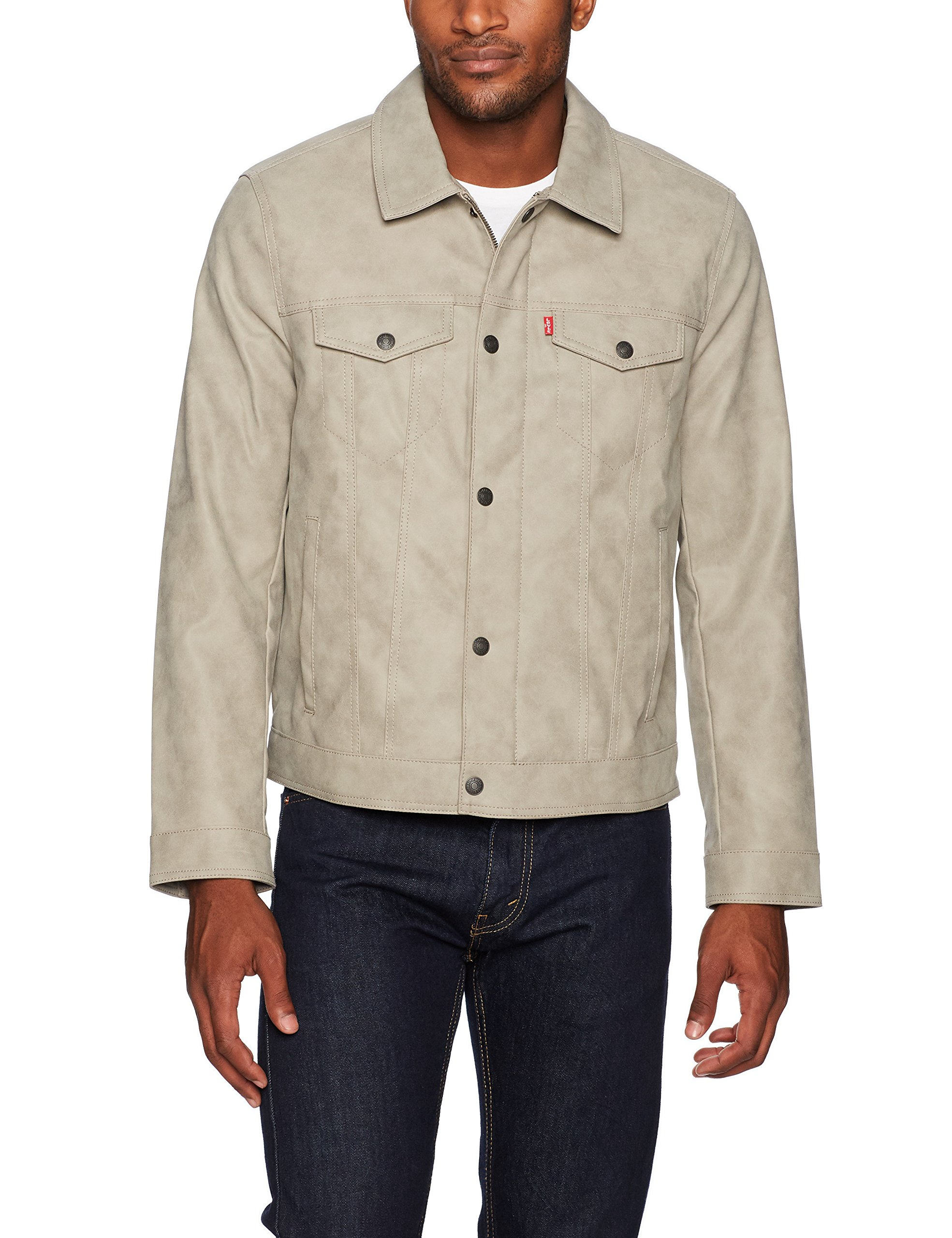 Levi's Men's Suede Touch Trucker Jacket, Light Grey, Large