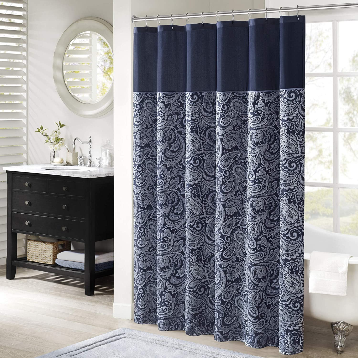 "Madison Park Aubrey Shower Curtain Paisley Jacquard Pieced Microfiber Faux Silk Modern Home Bathroom Decorations Bathtub Privacy Screen, 72"" x 72"", Navy"