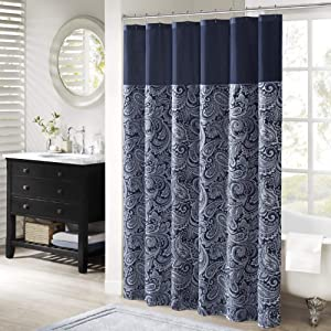 "Madison Park Aubrey Shower Curtain Paisley Jacquard Pieced Microfiber Faux Silk Modern Home Bathroom Decorations Bathtub Privacy Screen, 72"" x 72"", Navy"