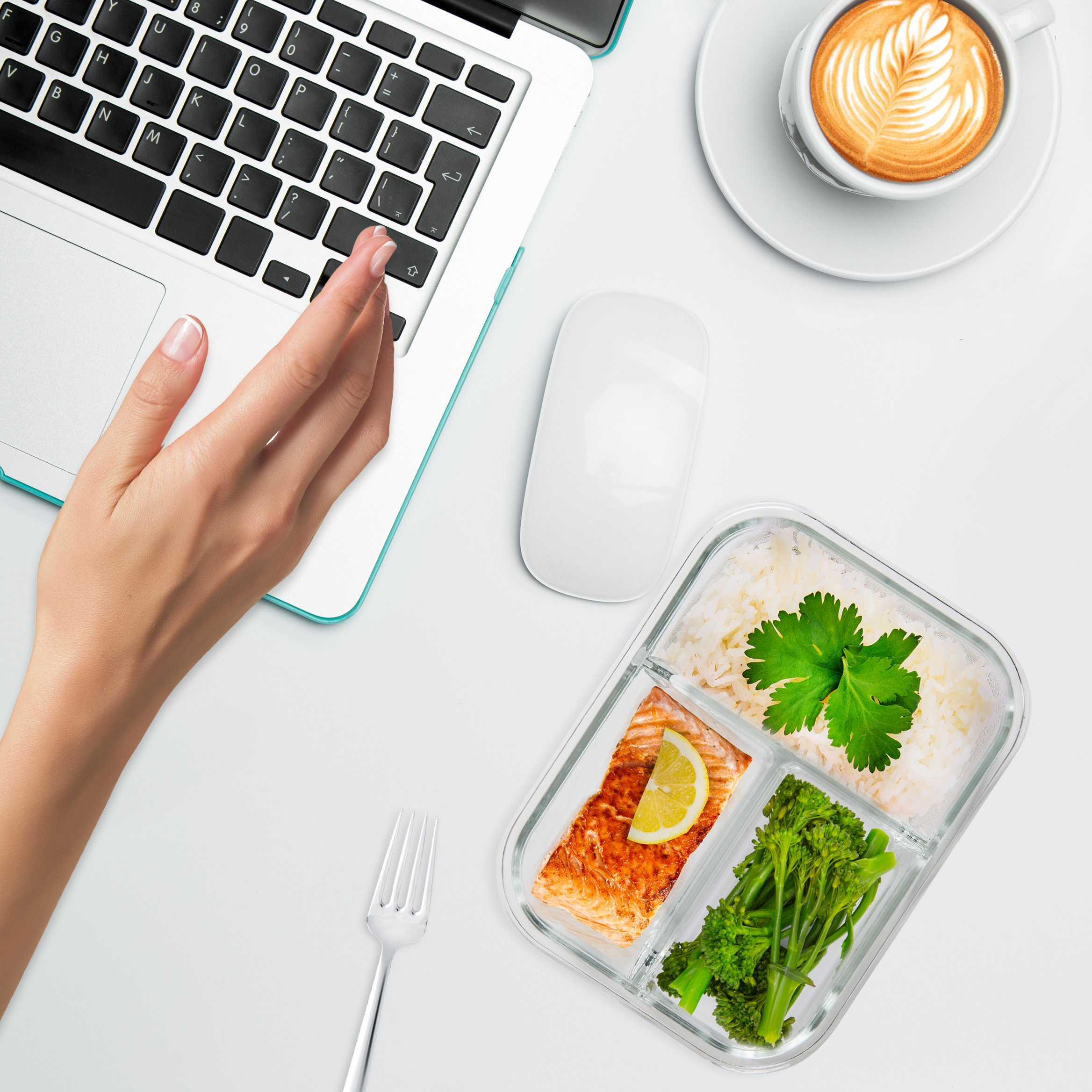 [5-Pack] Glass Meal Prep Containers 3 Compartment - Bento Box Containers Glass Food Storage Containers with Lids - Food Prep Containers Glass Storage Containers with lids Lunch Containers by Prep Naturals (Image #9)