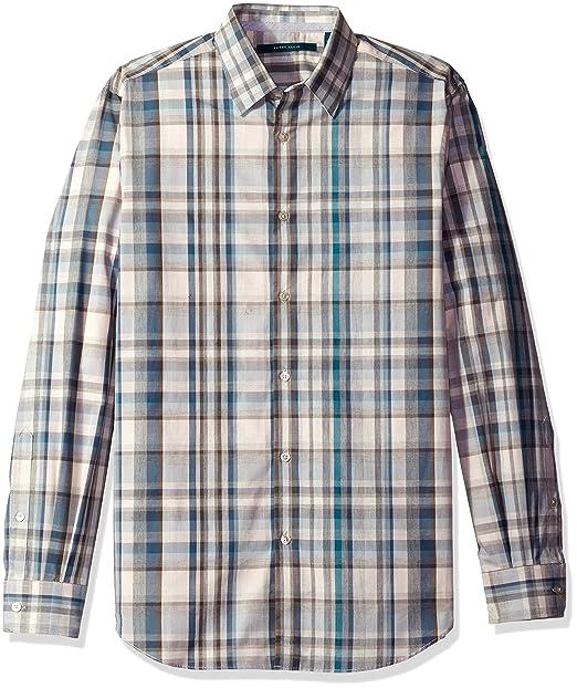 1425049a2a4fd Perry Ellis Hombres Manga Larga Camisa con botones - Gris -  Amazon.es   Ropa y accesorios