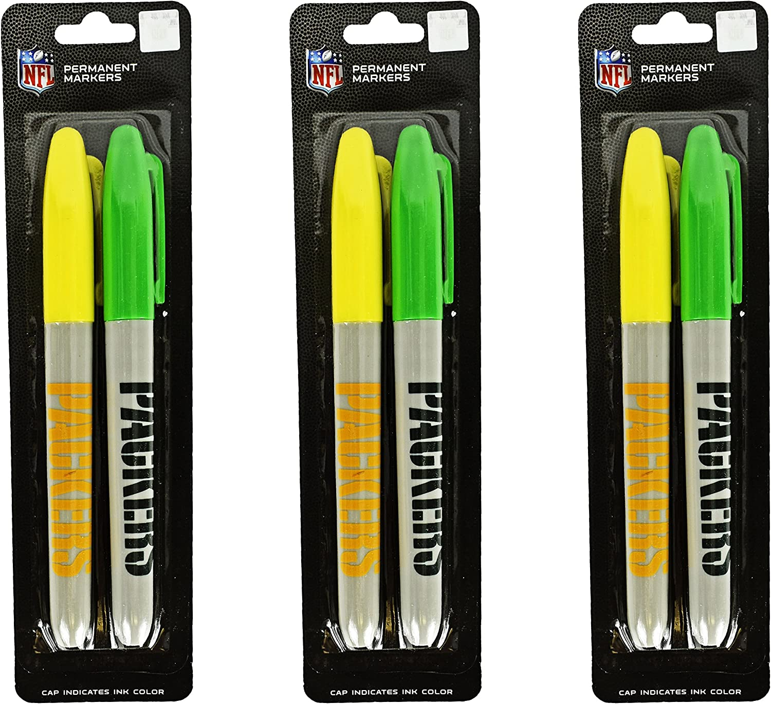 "Set of 6 NFL Green Bay Packers Themed Permanent Markers! Cap Indicates Color - 5.5"" - Features Pocket Clip for Marking on the Go - Perfect for Home, School, or the Office!"